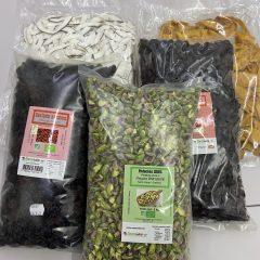 Baies, maïs, pistaches, fruits secs